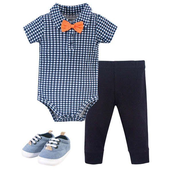 Little Treasure Cotton Bodysuit, Pant and Shoe Set, Checkered Collar