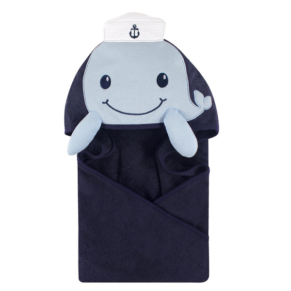Little Treasure Cotton Animal Face Hooded Towel, Sailor Whale