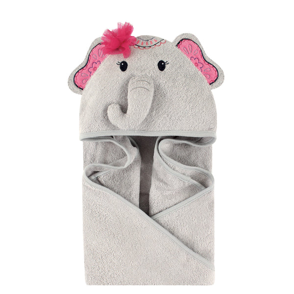 Little Treasure Cotton Animal Face Hooded Towel, Boho Elephant