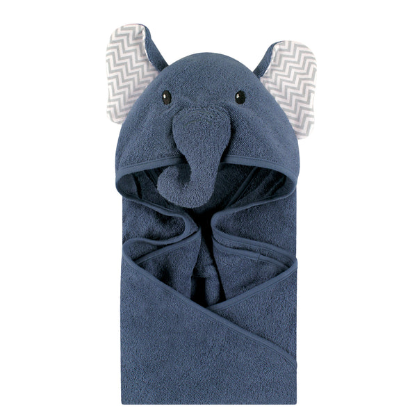 Little Treasure Cotton Animal Face Hooded Towel, Chevron Elephant