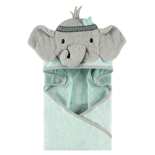Little Treasure Cotton Animal Face Hooded Towel, Tribal Elephant