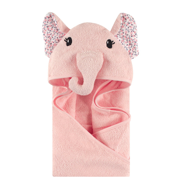 Little Treasure Cotton Animal Face Hooded Towel, Floral Elephant