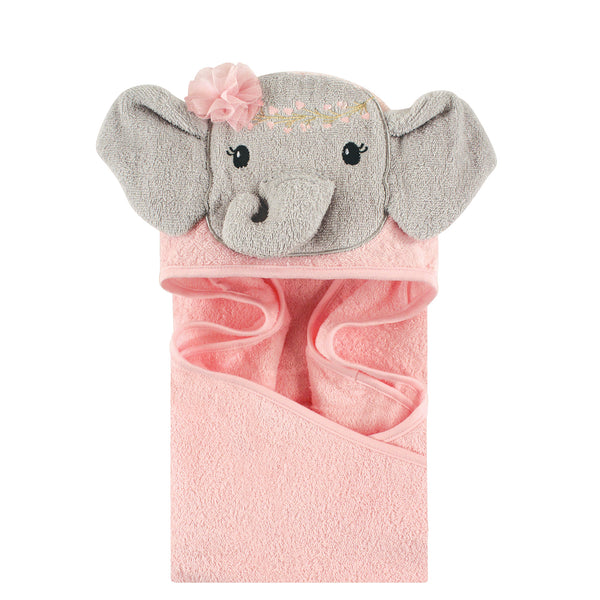 Little Treasure Cotton Animal Face Hooded Towel, Blossom Elephant