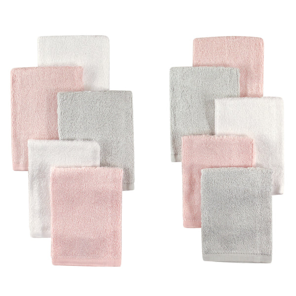 Little Treasure Rayon from Bamboo Luxurious Washcloths, Light Pink Gray