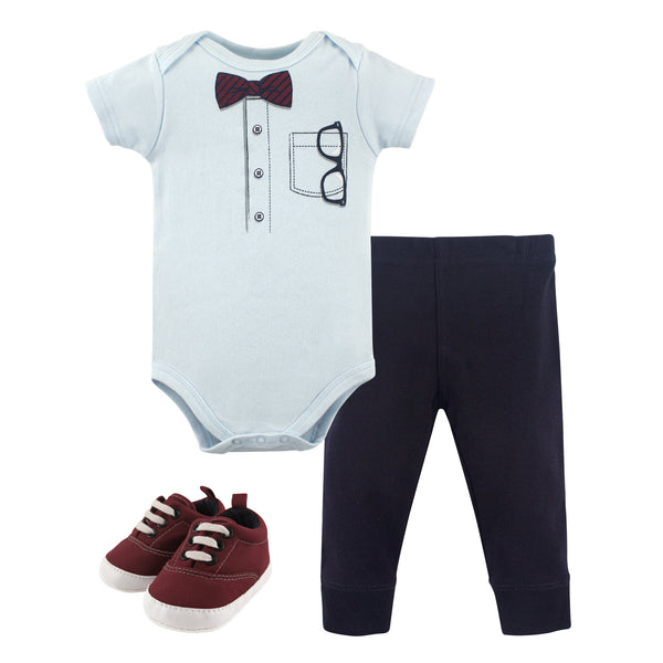 Little Treasure Cotton Bodysuit, Pant and Shoe Set, Glasses Short-Sleeve