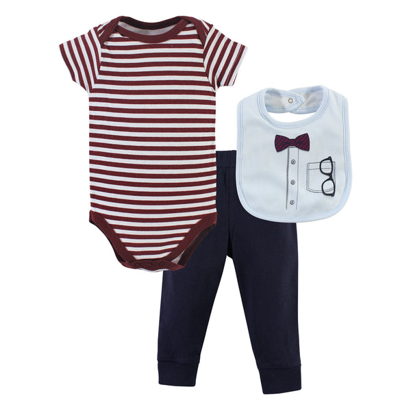 Little Treasure Bodysuit, Pant and Bib, Glasses