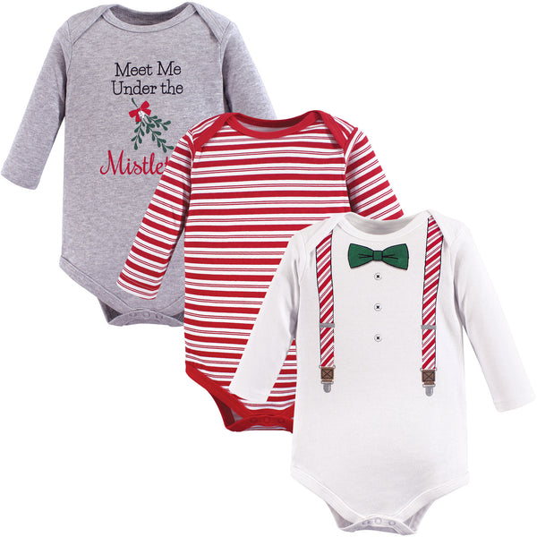 Little Treasure Cotton Bodysuits, Christmas Suspenders