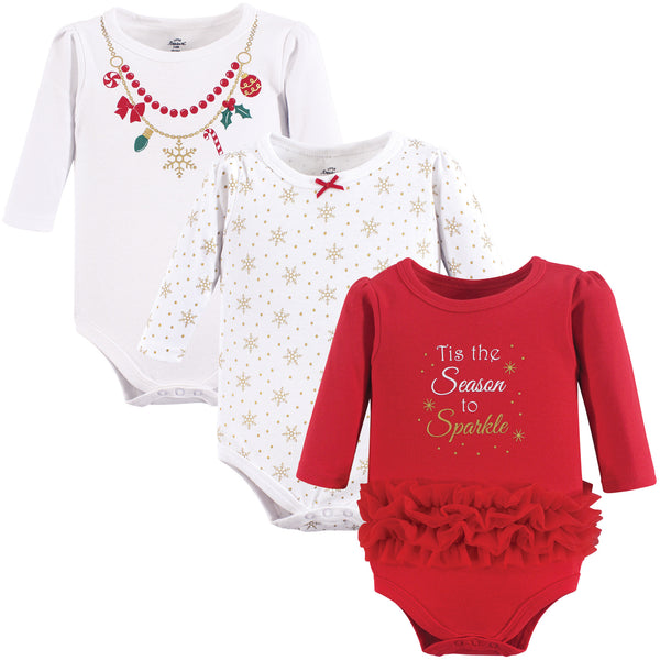 Little Treasure Cotton Bodysuits, Christmas Necklace