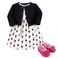 Little Treasure Cotton Dress, Cardigan and Shoe Set, Lipstick