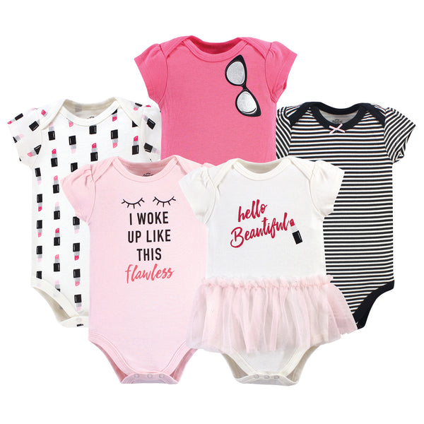 Little Treasure Cotton Bodysuits, Lipstick Short-Sleeve