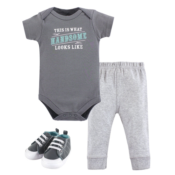 Little Treasure Cotton Bodysuit, Pant and Shoe Set, Handsome