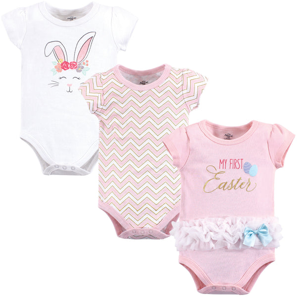 Little Treasure Cotton Bodysuits, Girl First Easter