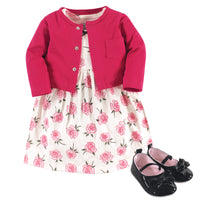 Little Treasure Cotton Dress, Cardigan and Shoe Set, Rose