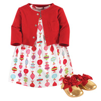 Little Treasure Cotton Dress, Cardigan and Shoe Set, Glitzmas
