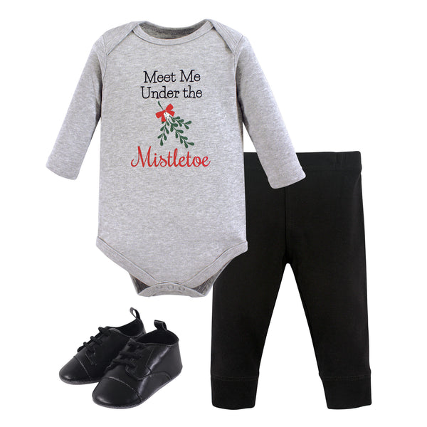 Little Treasure Cotton Bodysuit, Pant and Shoe Set, Mistletoe