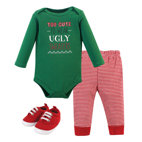 Little Treasure Cotton Bodysuit, Pant and Shoe Set, Ugly Sweater