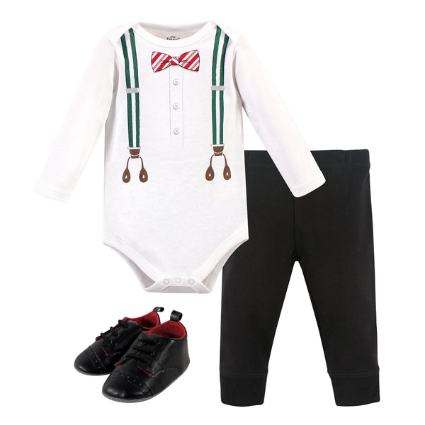 Little Treasure Cotton Bodysuit, Pant and Shoe Set, Green Suspenders