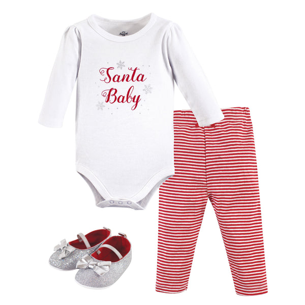 Little Treasure Cotton Bodysuit, Pant and Shoe Set, Santa Baby