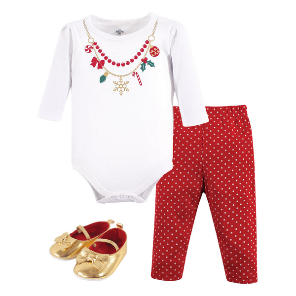 Little Treasure Cotton Bodysuit, Pant and Shoe Set, Christmas Necklace