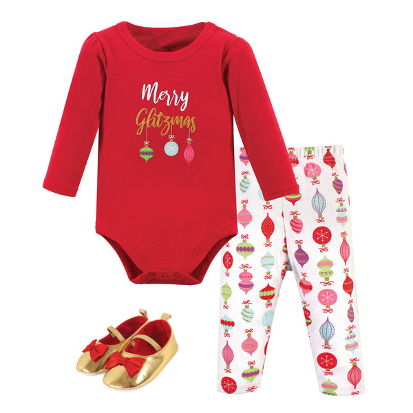 Little Treasure Cotton Bodysuit, Pant and Shoe Set, Glitzmas