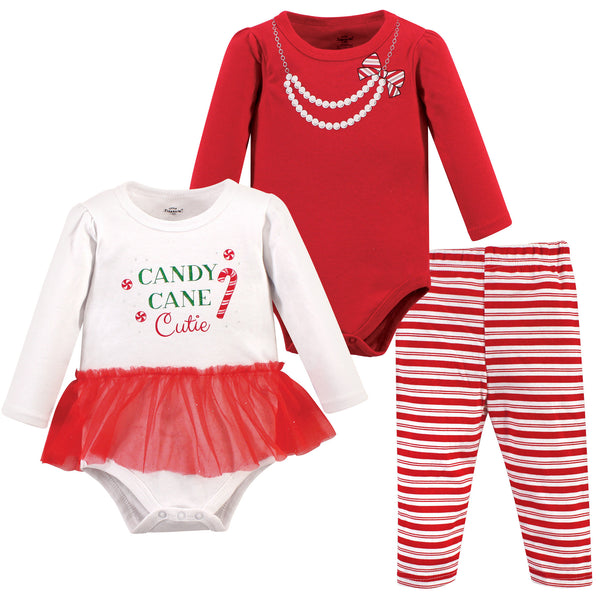 Little Treasure Cotton Bodysuit and Pant Set, Candy Cane Cutie