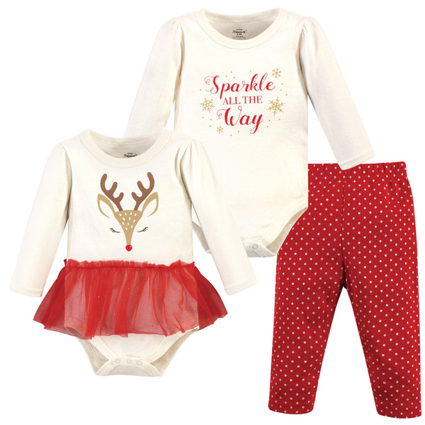 Little Treasure Cotton Bodysuit and Pant Set, Pretty Reindeer
