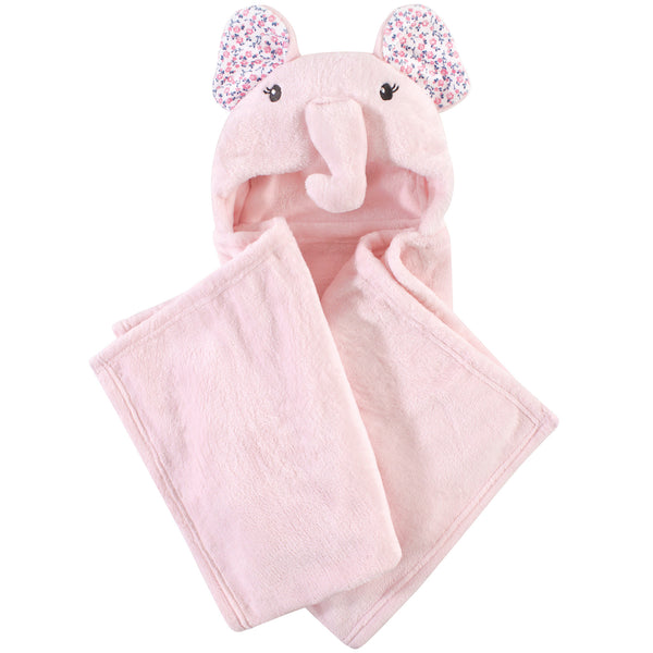Little Treasure Plush Hooded Blanket, Floral Elephant