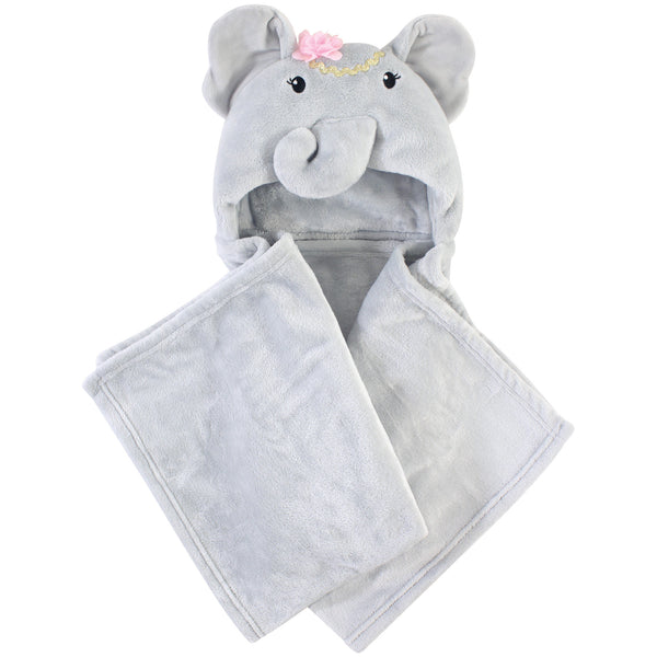 Little Treasure Plush Hooded Blanket, Blossom Elephant