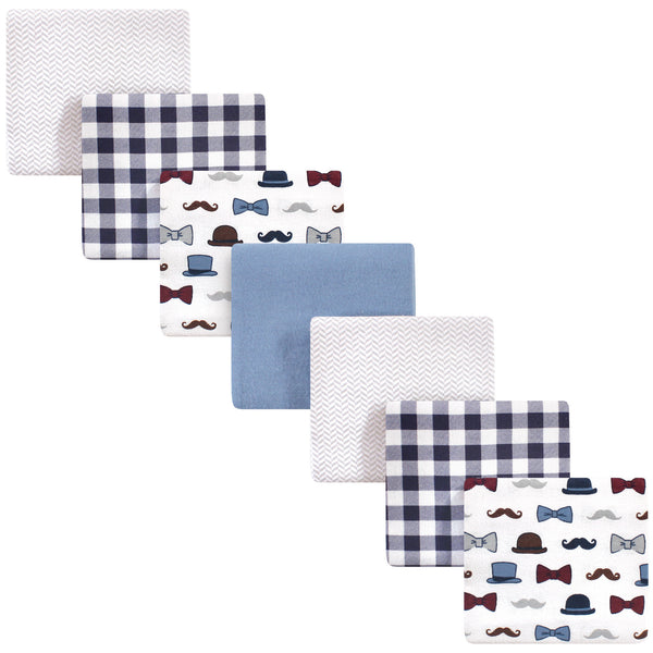 Little Treasure Cotton Flannel Receiving Blankets, Handsome Fella 7-Pack