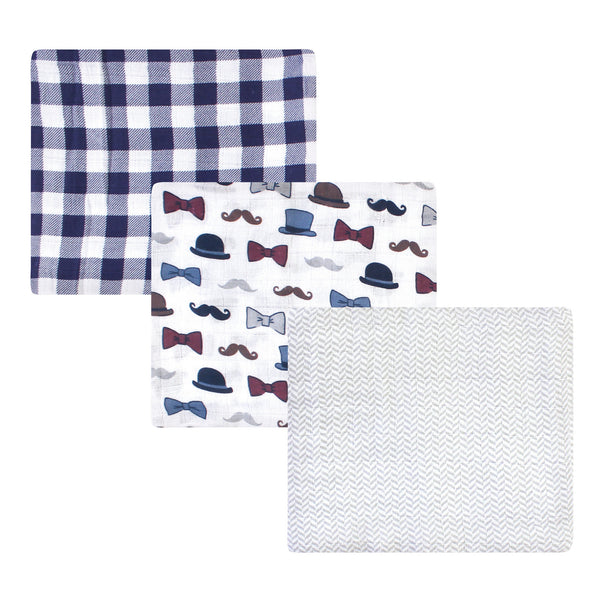 Little Treasure Cotton Muslin Swaddle Blankets, Handsome Fella