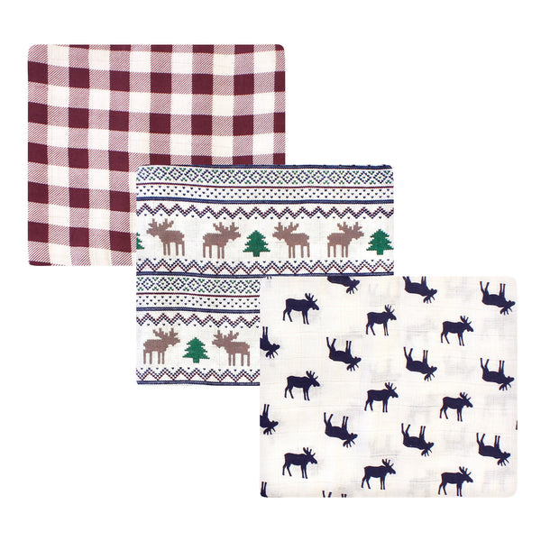 Little Treasure Cotton Muslin Swaddle Blankets, Moose Sweater