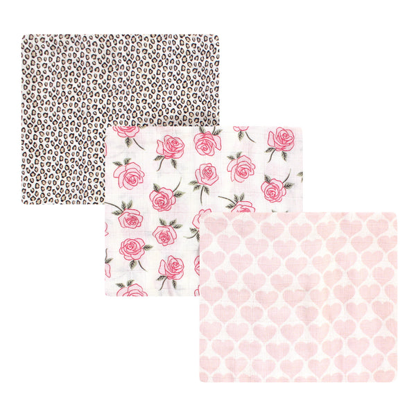 Little Treasure Cotton Muslin Swaddle Blankets, Rose Leopard