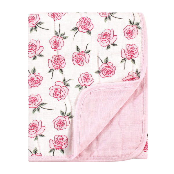 Little Treasure Cotton Muslin Tranquility Quilt Blanket, Rose