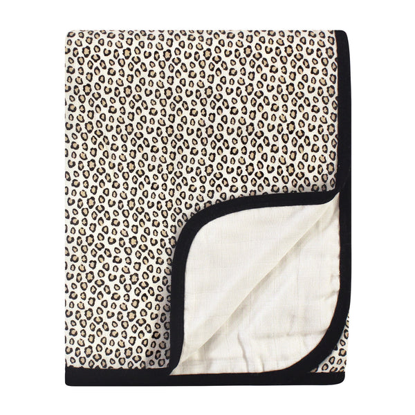 Little Treasure Cotton Muslin Tranquility Quilt Blanket, Leopard