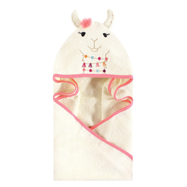 Little Treasure Cotton Animal Face Hooded Towel, Llama