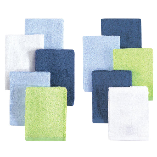 Little Treasure Rayon from Bamboo Luxurious Washcloths, Denim Lime 10-Pack