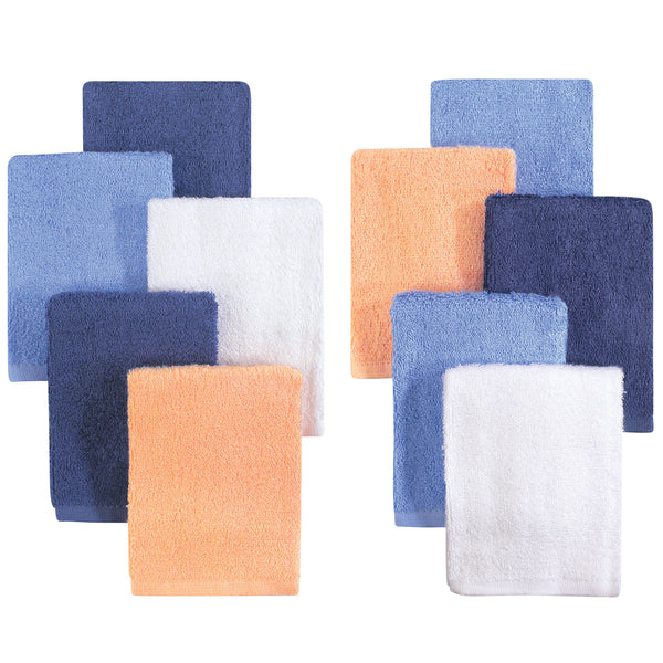 Little Treasure Rayon from Bamboo Luxurious Washcloths, Blue Orange 10-Pack