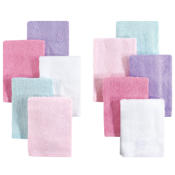Little Treasure Rayon from Bamboo Luxurious Washcloths, Pink Lilac 10-Pack