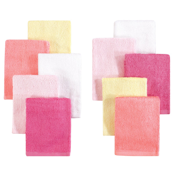 Little Treasure Rayon from Bamboo Luxurious Washcloths, Pink Yellow 10-Pack