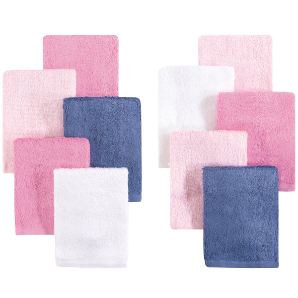 Little Treasure Rayon from Bamboo Luxurious Washcloths, Pink Denim 10-Pack