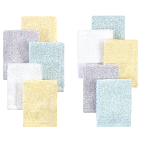 Little Treasure Rayon from Bamboo Luxurious Washcloths, Yellow Gray Mint