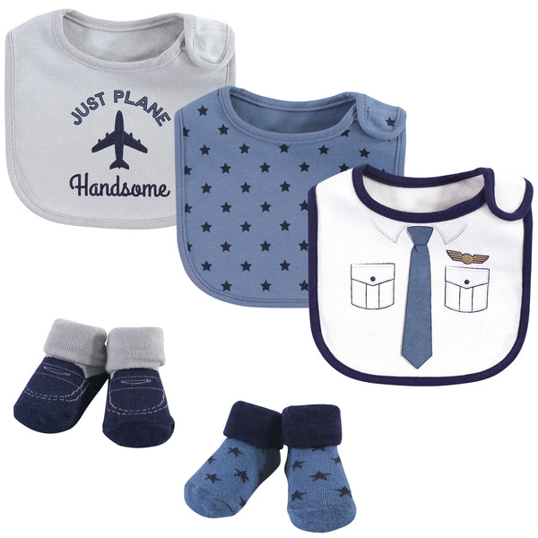 Little Treasure Cotton Bib and Sock Set, Pilot