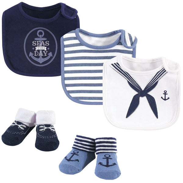 Little Treasure Cotton Bib and Sock Set, Sailor