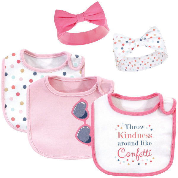 Little Treasure Cotton Bib and Headband Set, Confetti