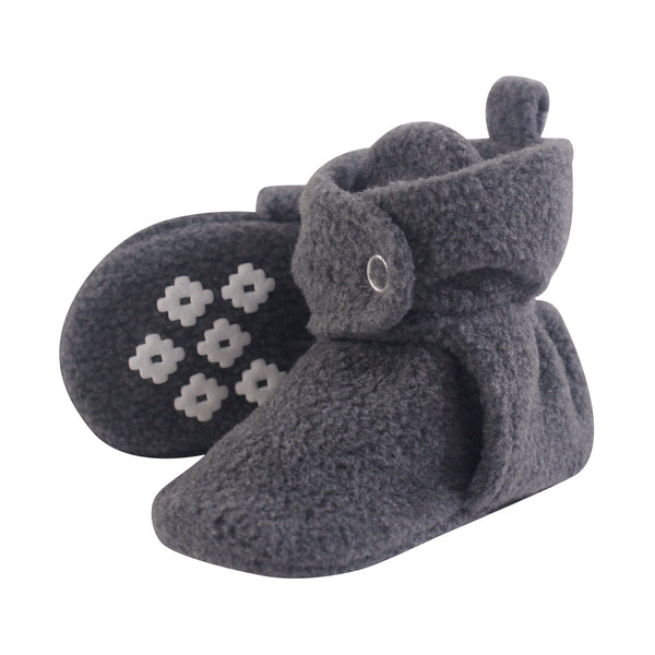 Little Treasure Cozy Fleece Booties, Heather Charcoal