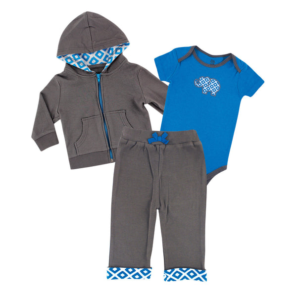 Yoga Sprout Cotton Hoodie, Bodysuit or Tee Top, and Pant, Blue Elephant Baby