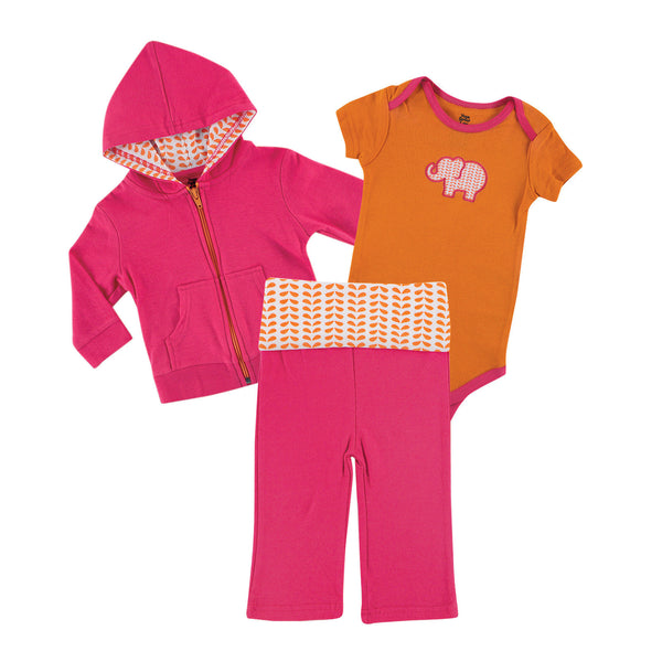 Yoga Sprout Cotton Hoodie, Bodysuit or Tee Top, and Pant, Pink Elephant Baby