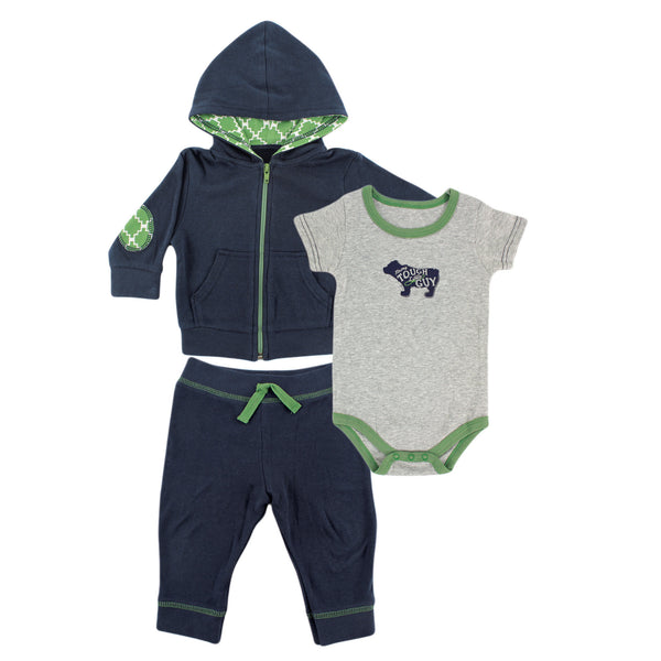 Yoga Sprout Cotton Hoodie, Bodysuit or Tee Top, and Pant, Bear Baby