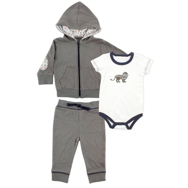 Yoga Sprout Cotton Hoodie, Bodysuit or Tee Top, and Pant, Lion Baby