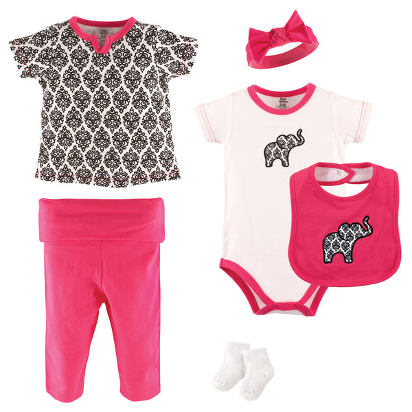 Yoga Sprout Cotton Layette Set, Damask